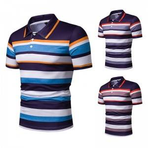 Stripe Polo Shirt Business Men Silk Golf Custom Logo Embroidery Stock Manufacturer