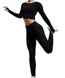 Active Yoga Seamless High Waist Two Piece Legging Fitness Set