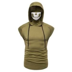 Faced Mask Hoodies Sleeveless Plain Blank T Shirt Summer Brand Supplier