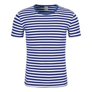 Stripe T Shirts Unisex Short Sleeve Summer Knitted Top Bulk Manufacturer