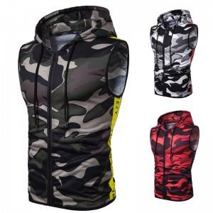 Camo Sleeveless Hoodies Men Summer Printed Zipper Up Sports Factory