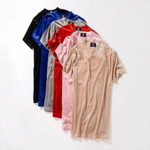 Velvet T Shirt Short Sleeve Summer Soft Loose Oversize Cheap Price Low MOQ