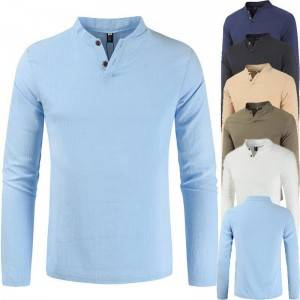 Uniform T Shirt Men Stand Collar Plus Size Casual Wholesale
