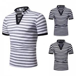 Stand Collar T Shirt Stripes V Neck Summer Short Sleeve Cheap Price Factory