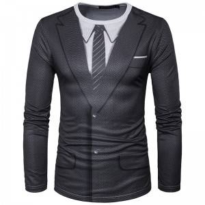 Printed Suit T Shirt Men Fashion Business Formal Uniform Workwear Oversize