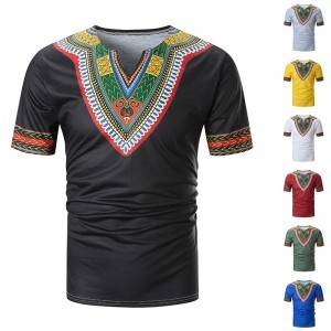 Dashiki T Shirt Men Short Sleeve V Neck Summer European Size Wholesale