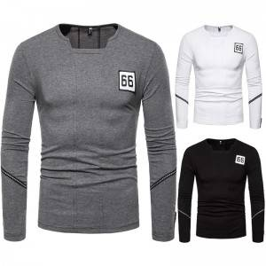 Basic T Shirt Men Letter Patch Long Sleeve Casual Workout Fashion