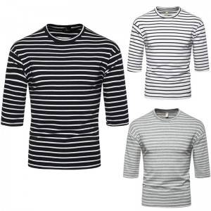 3/4 Sleeve T Shirt Unisex Half Round Neck Stripes Basic Bulk Fashion Supplier