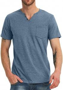 Men Casual T Shirts Slim Fit Short Sleeve Pocket V Neck Tops