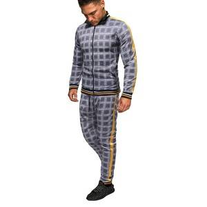 Sports Tracksuit For Men Plaid Fashion