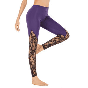 Lace Gym Yoga Leggings Training High Rise Sports Tights Plain