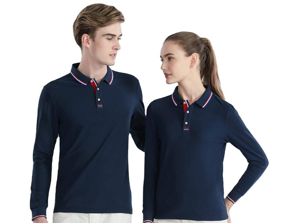 What are the matching methods for men's long-sleeved polo shirts?
