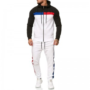 Men Jogger Track Suit Cycling Athletic Gym Zipper Stripe