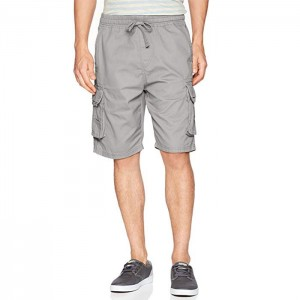 Mens Basic Twill Cargo Shorts Drawstring Cotton