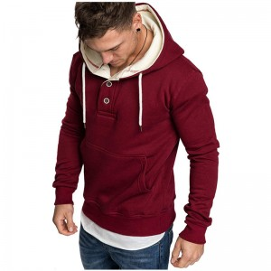 Cotton Hoodies Mens Heavyweight Wholesale High Quality Pullover Fitness Button