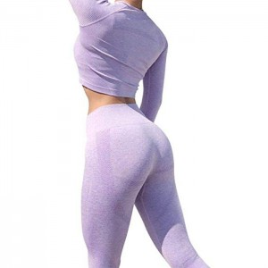 Aktif Yoga Seamless Tinggi Pinggang Two Piece Legging Fitness Set