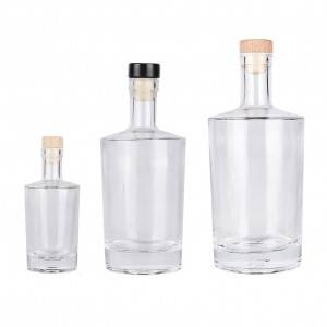 100ml 500ml 750ml Heavy Base Glass Bottle for Liquor Vodka Gin