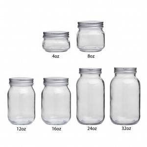Round Glass Mason Jar with Metal Lids 4oz 8oz 12oz 16oz 24oz 32oz