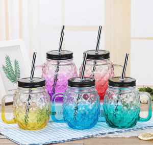 450ml glass mason jar Mug with handle for drink