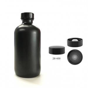8oz 250ml Black Painting Boston Round Glass Bottle with 28 400 Neck Finish