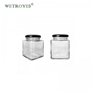 Wholesale 280ml Square Glass Jars Food Canister with Metal Lug Cap for Candy Herbs