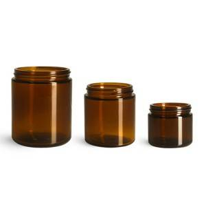 Hot Sales 2oz 4oz 8oz Amber Straight Glass Jar Glass Candle Jar with Black Plastic Lid
