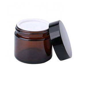 2 oz Round Empty Cosmetic Containers Amber Glass Sample Jars with Inner Liners black Lids