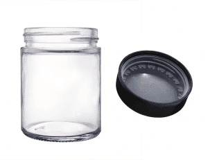 3oz Clear Child Resistant Glass Jar Straight Side Glass Container