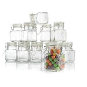 Square 4 oz Glass Spice Jars with Hinged Lids For Kitchen