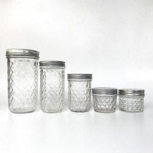 Wholesale Crystal Glass Mason Jar for Caviar Herb Jelly Jams with Metal Lids
