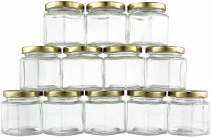 4oz 120ml Hexagon Glass Jars for Jam Honey Jelly Wedding Favors Baby Food DIY Magnetic Spice Jars