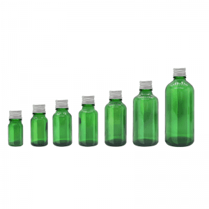 5ml 10ml 15ml 20ml 30ml 50ml 100ml Green Color Empty Round Essential Oil Bottle with Aluminum lid and Insert