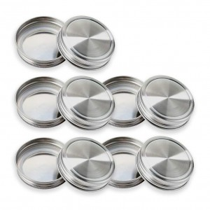 Rustproof 304 Stainless Steel Mason Jar Lids Storage Caps with Silicone Seals for Regular Mouth
