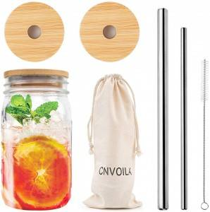 ECO Reusable Bamboo 86mm Wide Mouth Mason Jar Lids with 2 Reusable Stainless Steel Straw
