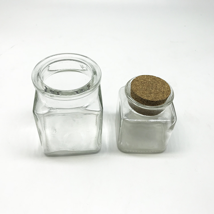 09cef416fa58 China Clear Glass Bottles with Cork Lids Mini Transparent Squared ...
