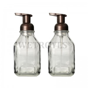 16 Ounce Square Glass Foaming Soap Dispensers
