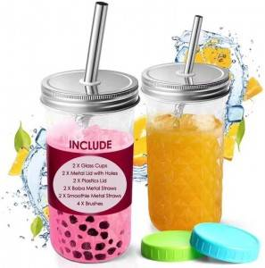 20oz mason jar cup with metal straw hole lid for bubble milk tea