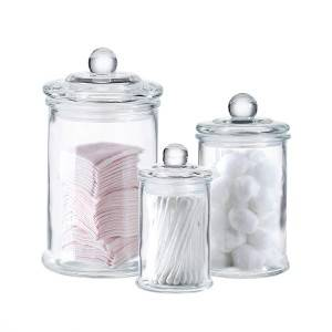 Glass Apothecary Jars Cotton Jar Bathroom Storage Organizer Canisters