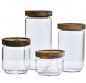 Borosilicate Glass Food Storage Jar with Wood Lid 250ml 480ml 750ml 950ml