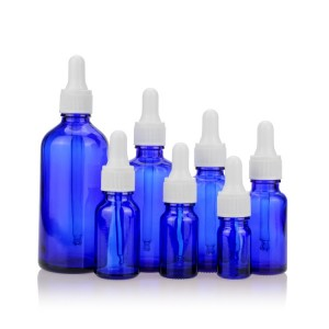 5ml 10ml 30ml 50ml Cobalt Blue Glass Essential Oil Bottle with White Dropper Cap