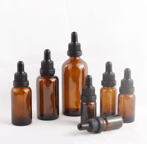 Amber Glass Dropper Bottle for Essential Oil Storage with Black Tamer Evident Dropper