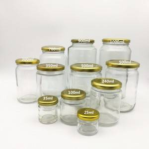 25ml 50ml 100ml 250ml 500ml Round Glass Honey Jar with Metal Lid