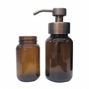 High quality 150ml 250ml amber glass foaming soap pump bottle