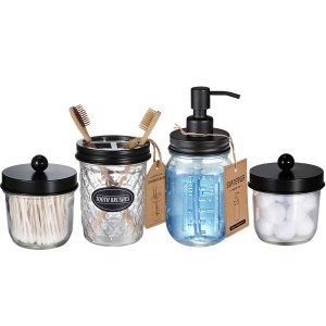 Mason Jar Bathroom Accessories Set Soap Dispenser & 2 Apothecary Jars & Toothbrush Holder
