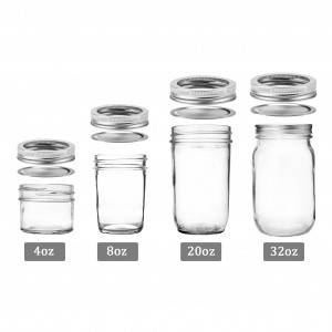 Mason Jar 4oz 8oz 20oz 32oz for Honey Jam with Metal Lid