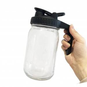 Wide Mouth 86mm Mason Jar Plastic Leak Proof Flip Top Cap Lid With Handle
