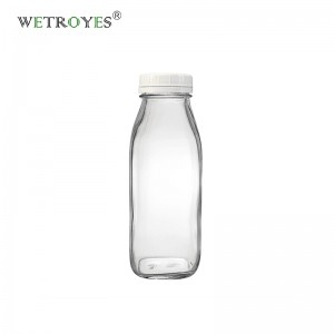 Wholesale 12oz 360ml French Square Milk Glass Bottle with Lid