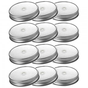 Tinplate Wide Mouth Mason Jar Lids with Straw Hole