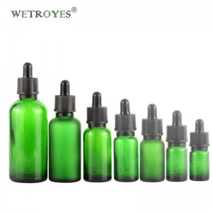 Essential Oil Diffuser Green Glass Bottles with Black Dropper