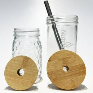 70mm 86mm Mason Jar Bamboo Lids with 15mm Straw Hole